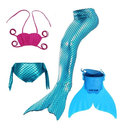 Biquíni Infantil Sereia Com Cauda Nadadeira Monofin Mermaid