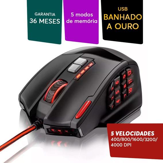 Mouse 18botões Warrior Game Multilaser Profissional 4000dpi.