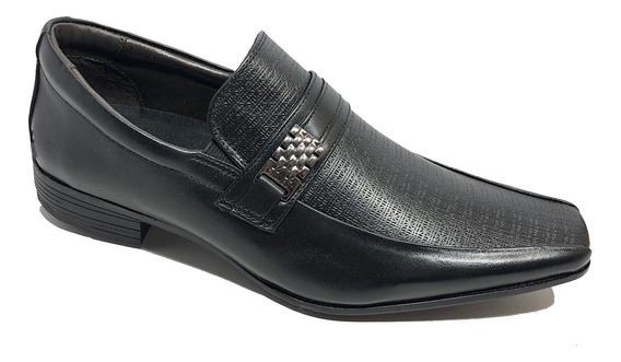 Sapato Social Calvest Em Couro Metal Com Textura - Preto