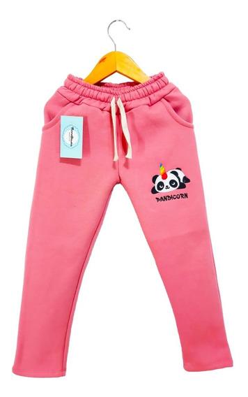 Pantalón De Algodón Doble Friza Con Bordado Para Nena