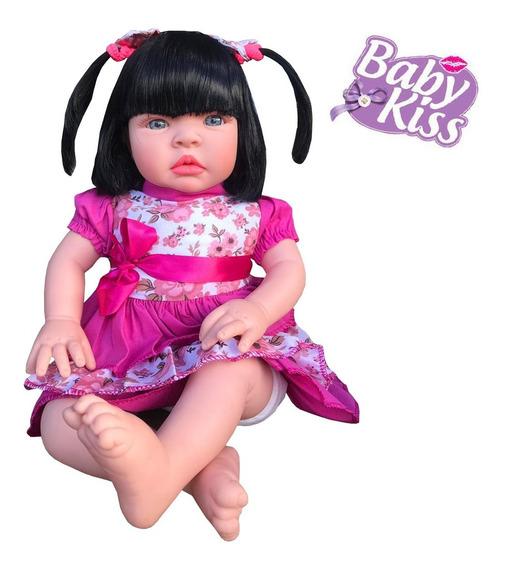 Kit 5 Boneca Bebe Baby Kiss Estilo Reborn Morena
