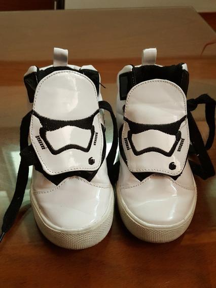 Zapatillas Botitas De Cuero Blancas De Star Wars Talle 27