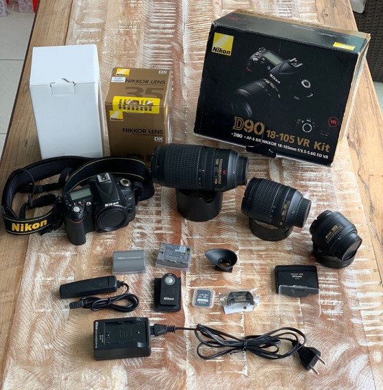 Kit Nikon D90 + Lentes 18x105, 70x300 (teleobjetiva) E 35mm