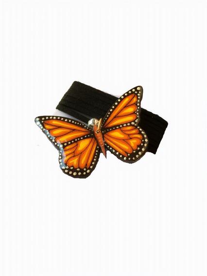 Collar De Mariposa Monarca, Hecho De Madera Y Pintado A Mano