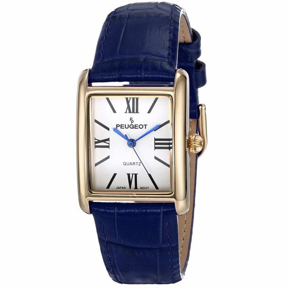 Reloj Peugeot Dress Acero Piel Azul Mujer 3036gbl