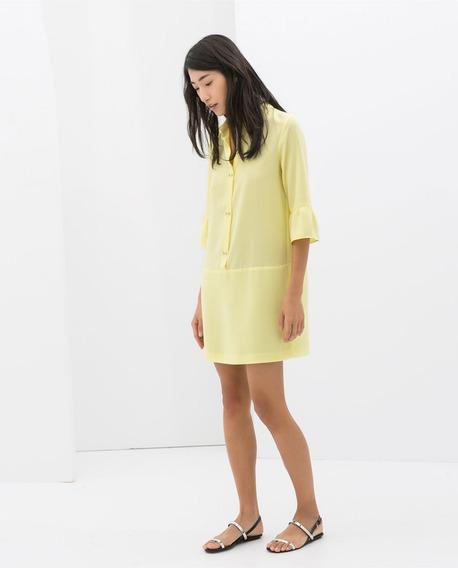 Vestido Zara Botões Jóia Amarelo