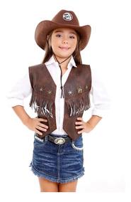 Colete Cowboy Menina Infantil Fantasia Country Feminna Roupa