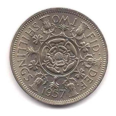 Moneda Inglaterra 2 Shillings Año 1957 Catalogo 65 Dolares