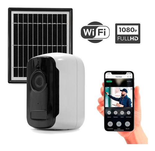 Imagen 1 de 6 de Cámara Seguridad Ip Wifi Panel Solar Full Hd 1080 Exterior