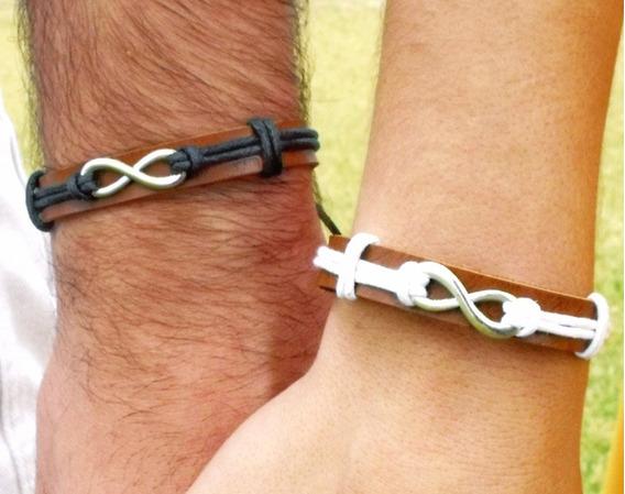Pulseiras Casal Infinito Presente Namorados Aliança Kit C/ 2