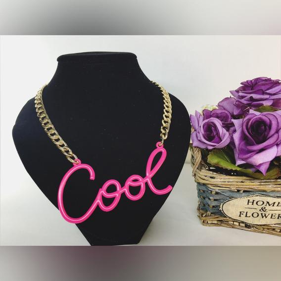 Collar De Moda Vintage Cool Rosa Neón
