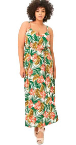Vestido Tropical Largo Plus Size Leaf Print By Forever21 T3x