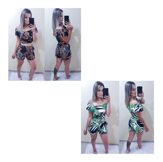 03 Conjunto Cropped Blusa Babado E Shorts Barato Atacado
