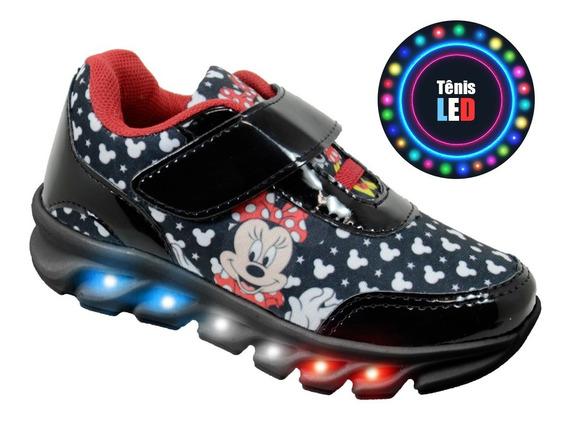 Tenis Led Luz Infantil Minnie Disney Barato + Brindes