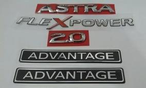 Kit Emblema Astra Adesivo Flexpower 2.0 Advange Kit 5 Peças