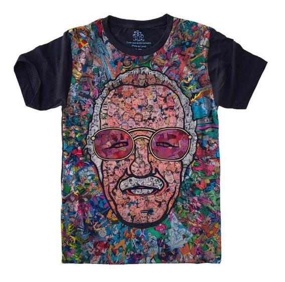 Camiseta T-shirt Full Print Tamanho Plus Size Stan Lee