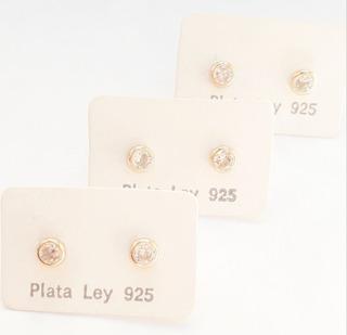 Zarcillos De Plata 925 Bañados En Oro