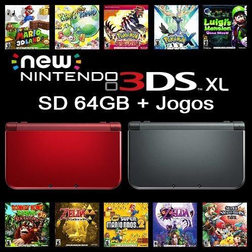 New Nintendo 3ds Xl + Sd 64gb + Jogos 3ds+ Sem Juros