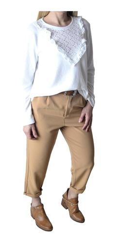 Imagen 1 de 7 de Pantalon De Vestir Pinsado Crepe Sastrero Mujer The Big Shop