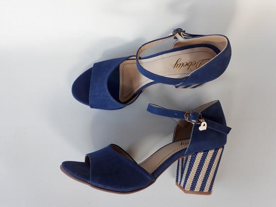 Sandália Salto Alto Médio Grosso Boneca Azul Listra Peep Toe