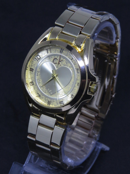 Relógio Dourado Gold Ouro Ck Barato Elegante Feminino Origin