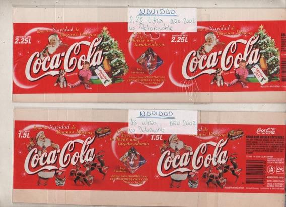 2 Antiguas Etiquetas * Coca Cola * Promo Navidad Año 2002