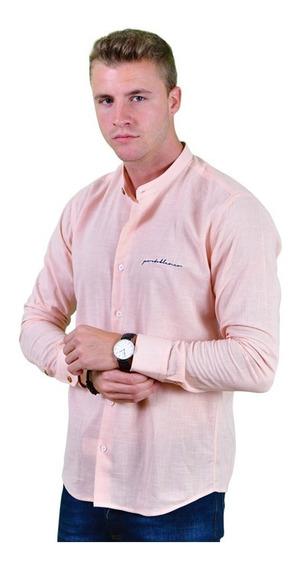 Camisa Lino Porto Blanco Hombre Cuello Mao Melon E-729