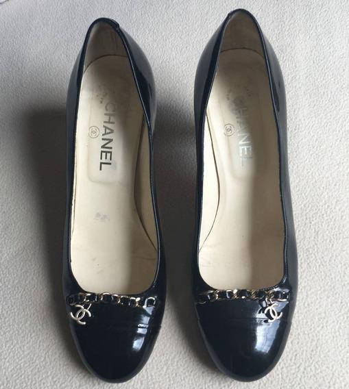 Sapato Chanel Original Couro Preto Verniz 38 Usado