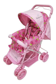 Carrinho De Bebê Mosquiteiro Pink Reversível + Bolsa