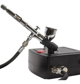 Kit Aerógrafo + Compressor Profissional Automático Mangueira