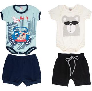 Roupa Bebê Menino Kit 2 Conjuntos Body E Shorts Curto Verão