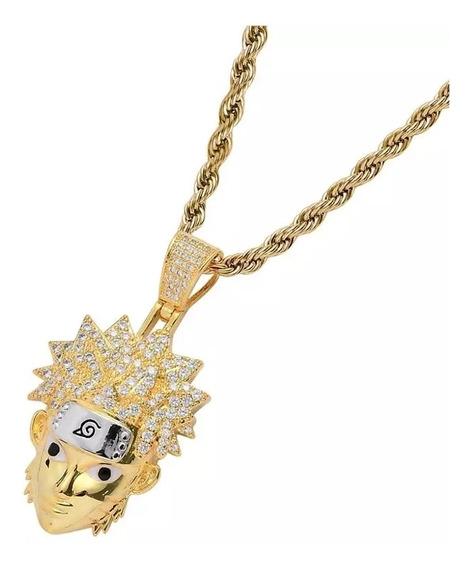 Pingente Naruto Saikai Banhado A Ouro C/ Corrente Corda 60cm