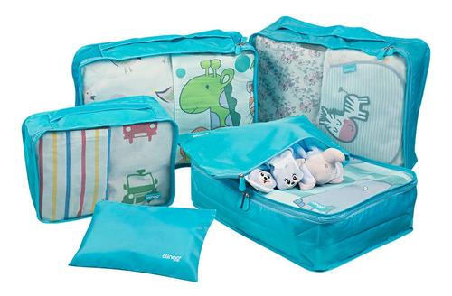6 Organizadores De Mala Para Viagem Azul Clingo C02810