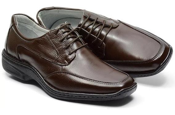 Sapato Social Masculino Ortopédico Couro Amarrar