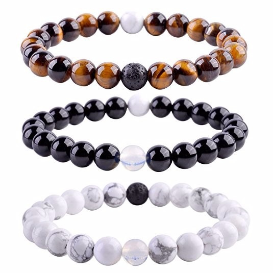 Brazalete Top Plaza Unisex 8mm Agate Opalite Tiger Eye