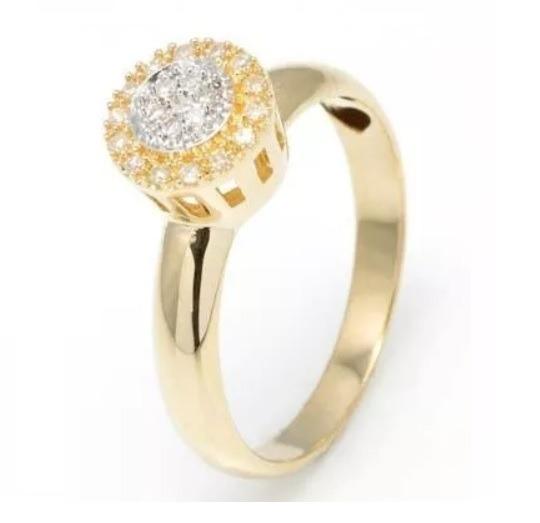Anel De Ouro 18k Chuveiro Redondo De Diamantes An30vj