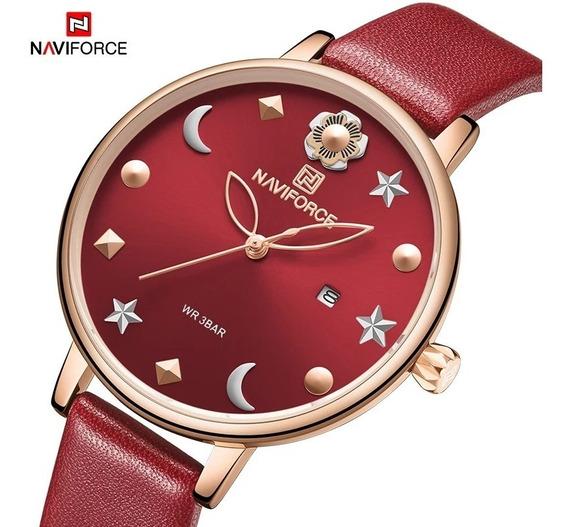Relógio Feminino Naviforce 5009 Couro Original Vermelho
