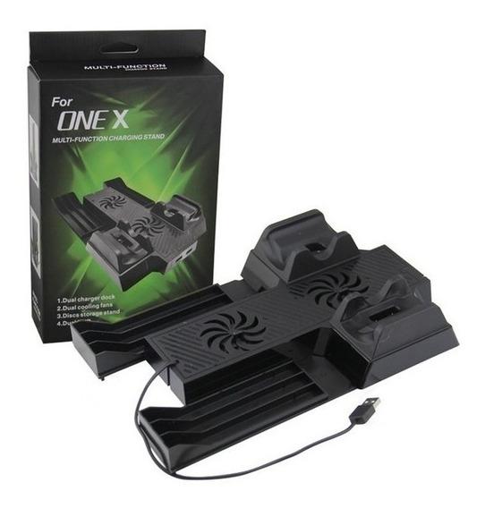 Suporte Xbox One X Base Carregador Controle 4x1 Com Cooler