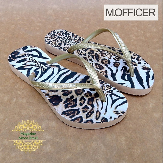 Chinelo Feminino M. Officer Animal Print