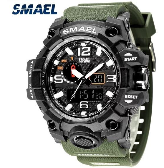 Relógio Smael 1545 Verde Militar Tático A Prova D