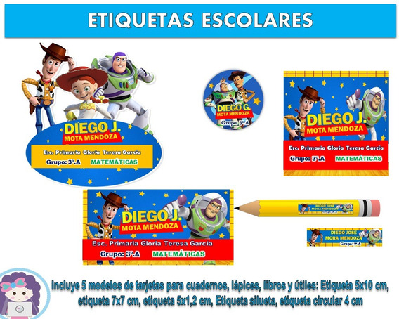 Kit Imprimible Etiquetas Escolares Toy Story