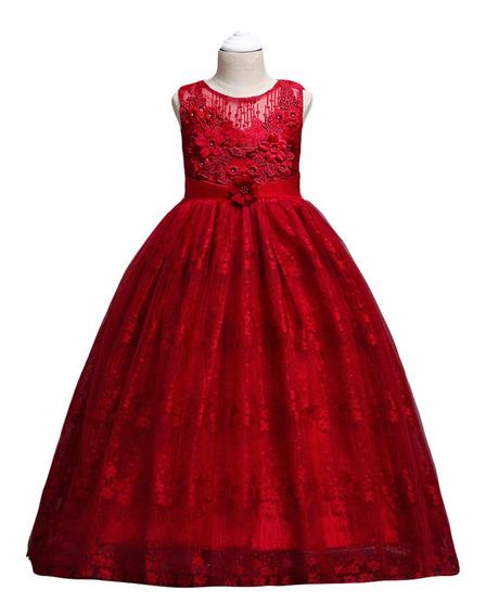 Vestido Niña Fiesta Largo/ceremonia/boda/rojovino