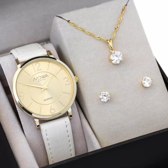 Relógio Nowa Dourado Feminino Couro Nw1411k