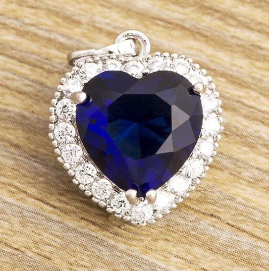 Colar Coração Azul Com Corrente Presente Esposa Amor Namorad