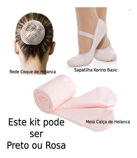 2 Kit 3 Peças Para Ballet Sapatilha Meia Calça E Rede Coque