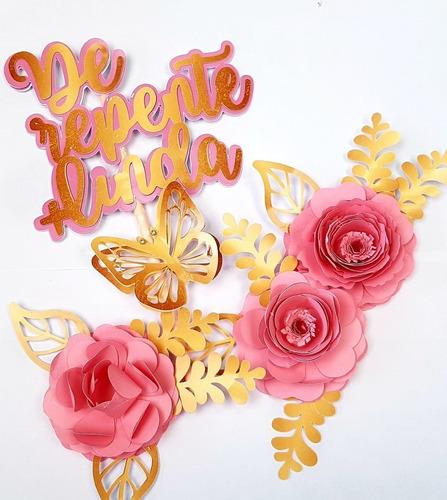 Topo De Bolo Topper Bolo Com Nome E Flores Em 3d
