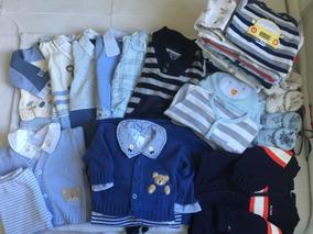 Lote Enxoval Luxo Bebê Para Menino 0-3 Meses Com 38 Peças