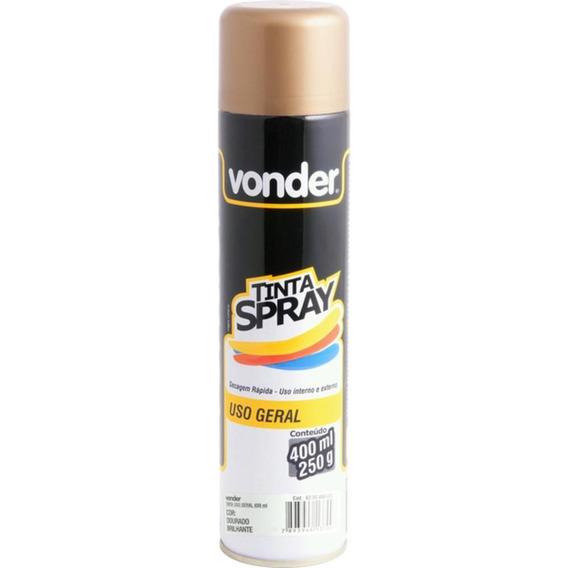 Tinta Spray Para Uso Geral Dourado Brilhante 400 Ml Vonder