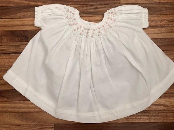 Vestido Infantil Branco Com Bordado De Casinha De Abelha