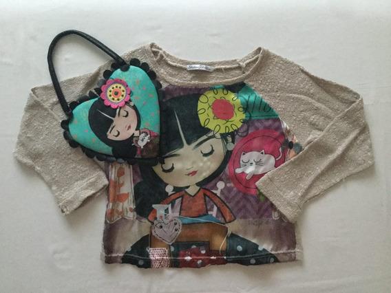 Sweater Con Estampa Niña + Carterita. Talle 8 Años